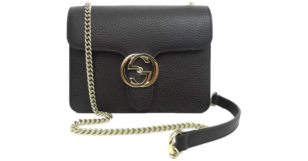 572a2e4ab23d Gucci Black Leather Marmont Interlocking GG Crossbody Bag in Black - Lyst