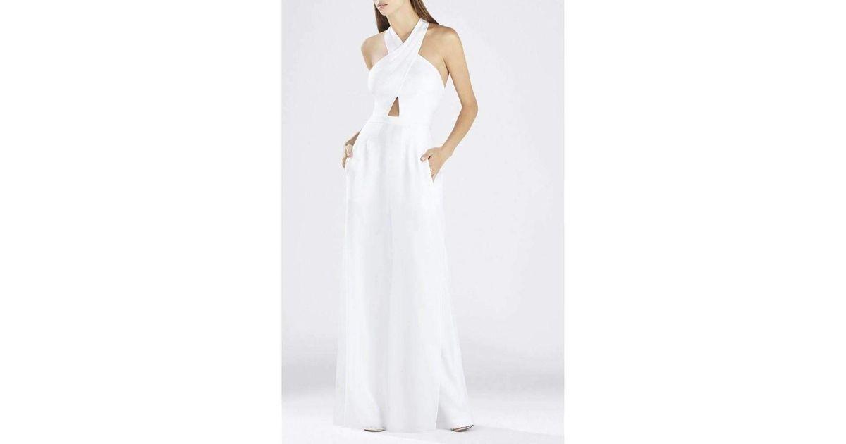 b042682884c0 Lyst - BCBGMAXAZRIA Josselyn White Halter Top Jumpsuit in White