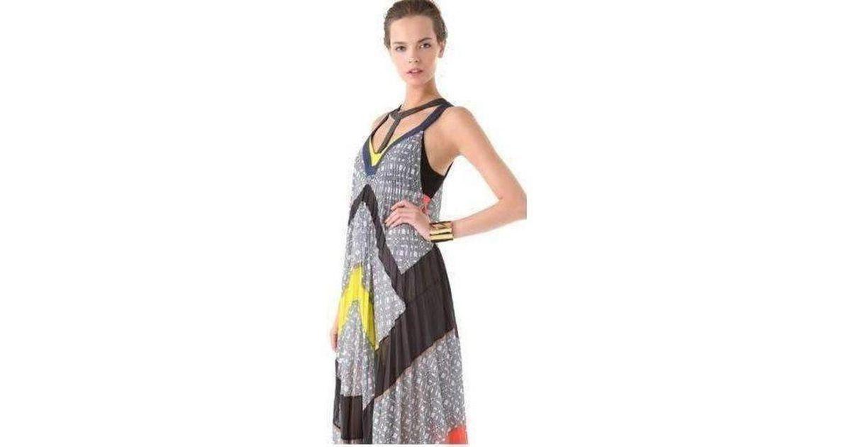 74975f5853 Lyst - BCBGMAXAZRIA Runway The Ella Dress In Color Block Printed Silk