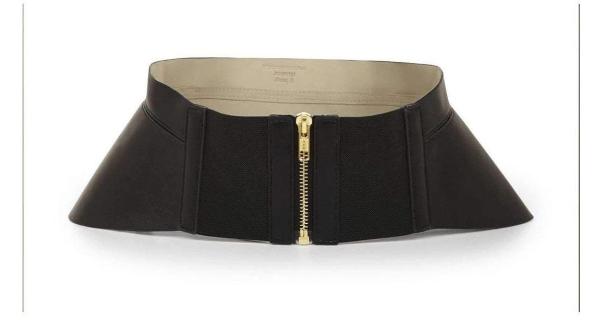 6772921b4b7 Lyst - BCBGMAXAZRIA Bcbg Maxazria Black Zip Corset Waist Belt in Black
