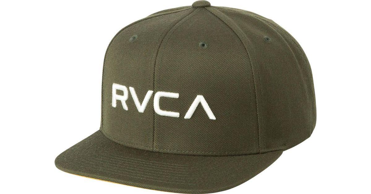 fd4c183ab42 Lyst - Rvca Twill Snapback Iii Hat in Green for Men