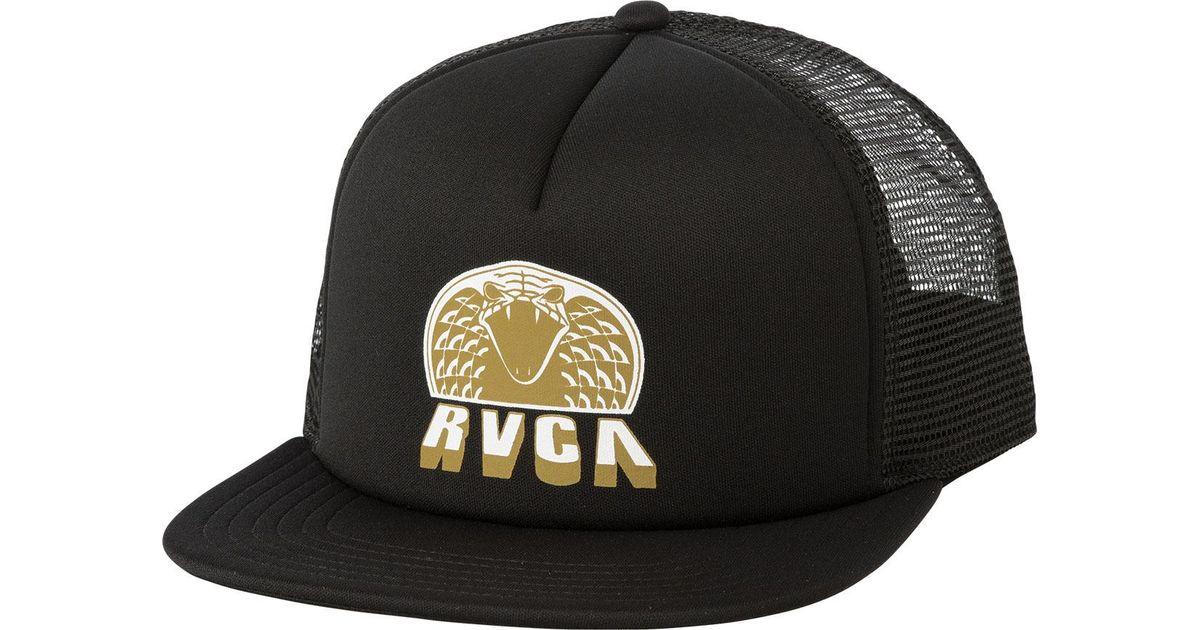 Lyst - RVCA King Cobra Trucker Hat in Black for Men 8ff320e253a