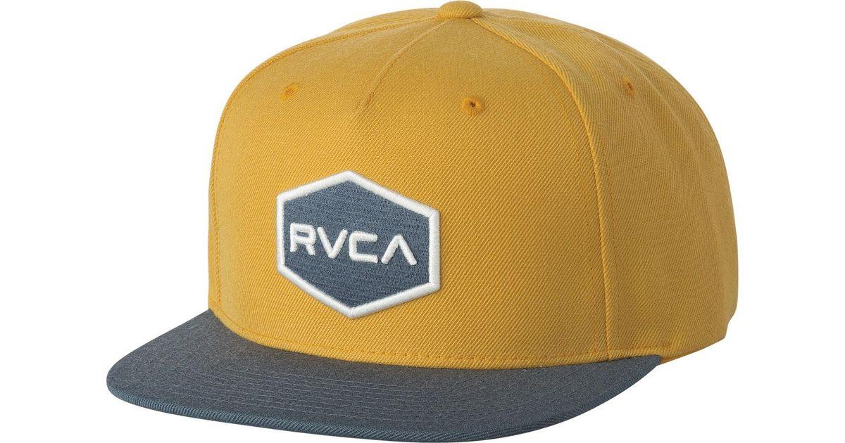 the latest 6e29c f8e83 ... new zealand lyst rvca commonwealth snapback ii hat in yellow for men  58da7 00f05