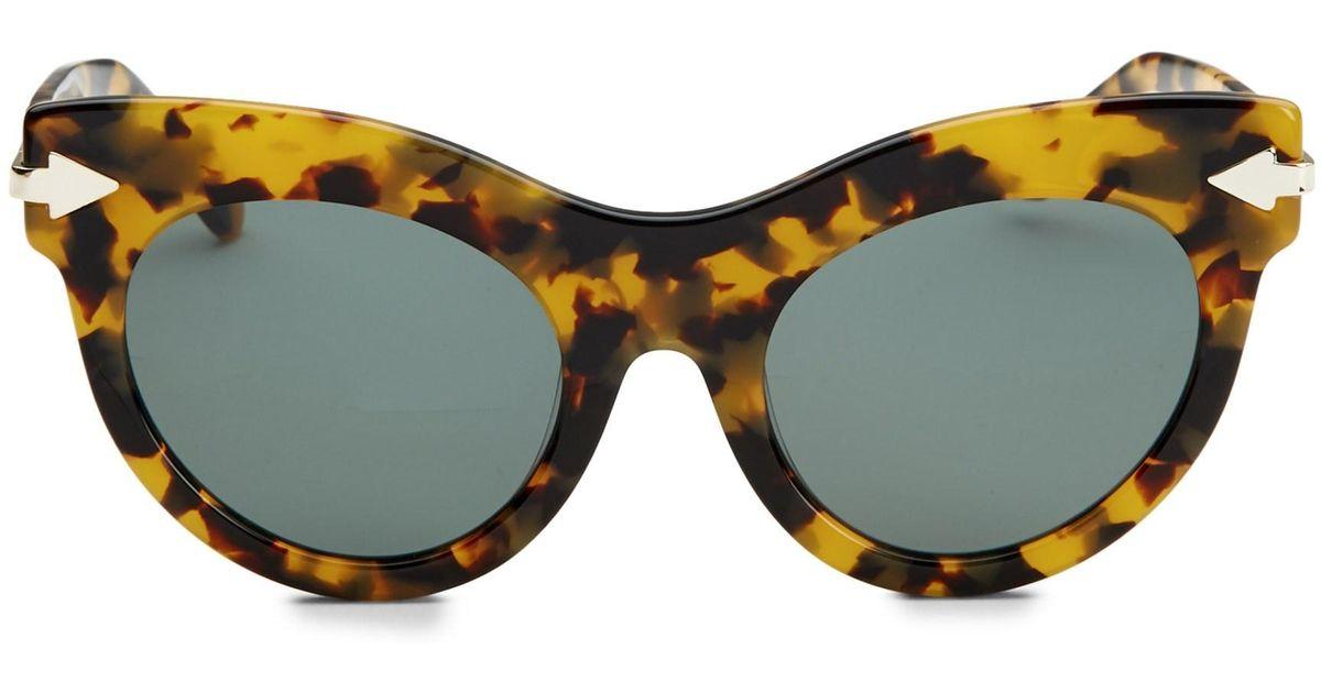 798654418d39 Lyst - Karen Walker Women's Miss Lark 52mm Cat Eye Sunglasses - Tortoise