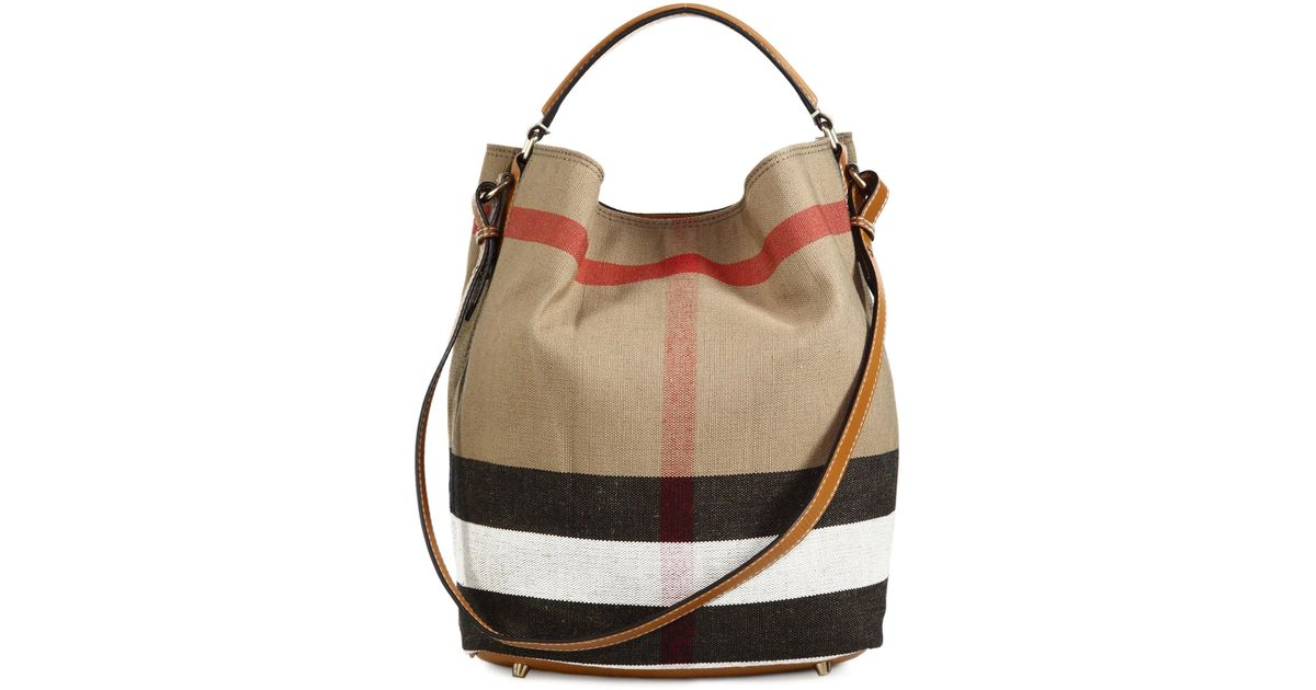 eae613d5118 Lyst - Burberry The Medium Ashby House Check Cotton Shoulder Bag in Natural