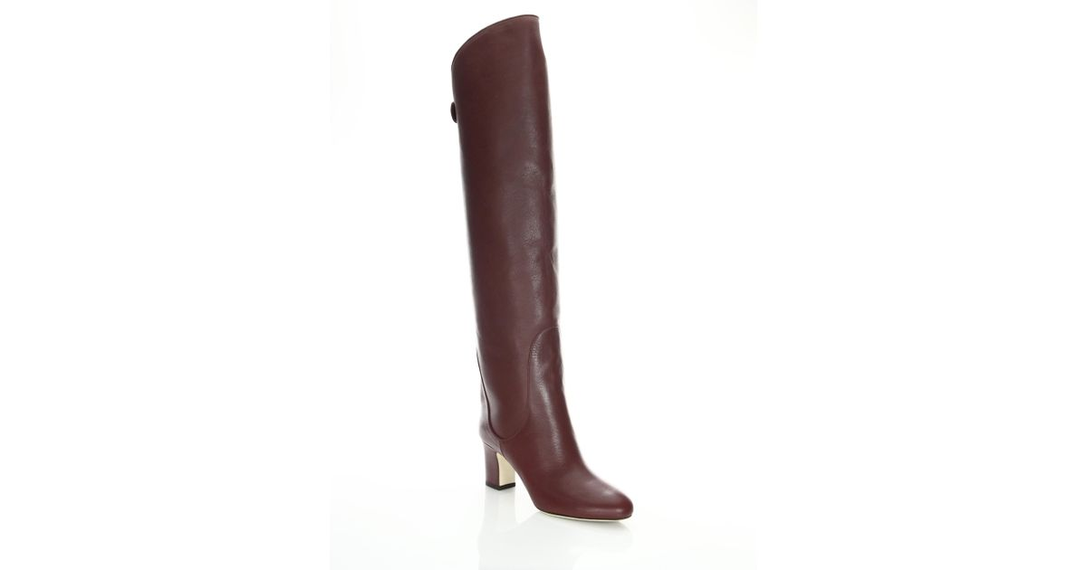 6319bf68a2ee Jimmy Choo Minerva 65 Leather Over-the-knee Boots in Brown - Lyst
