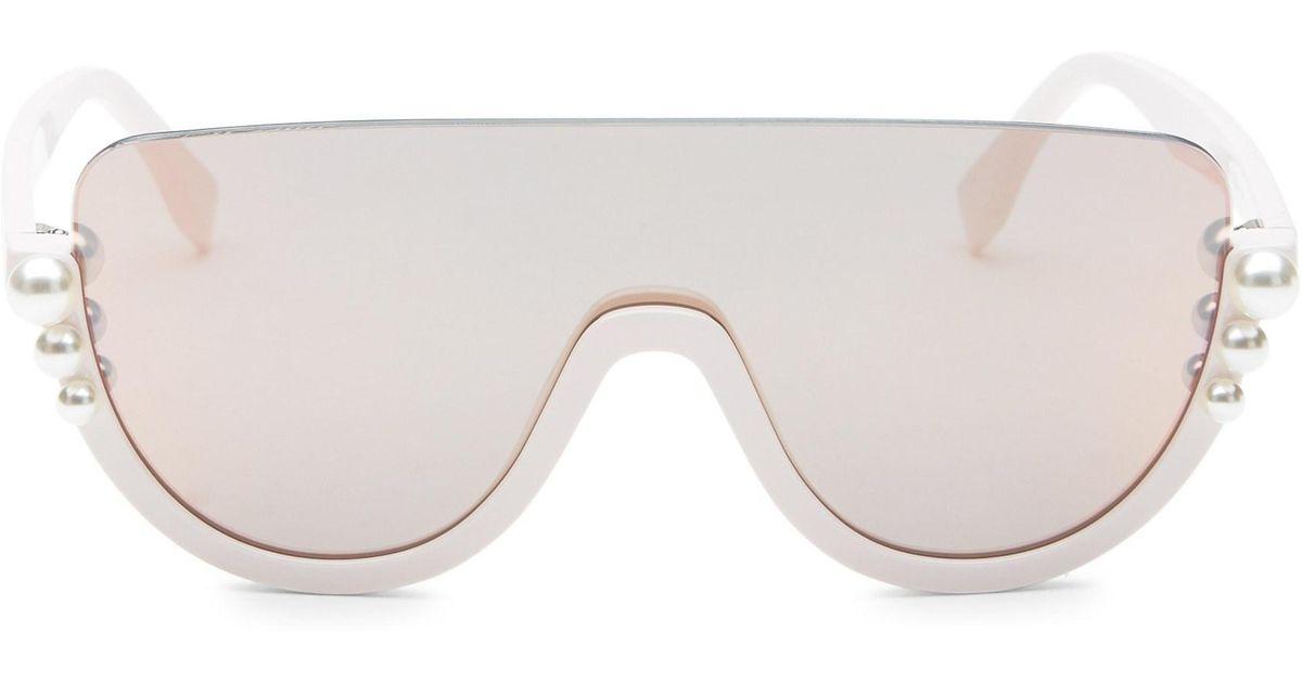 146cb802e4 Fendi 99mm Pearl Shield Sunglasses in Pink - Lyst