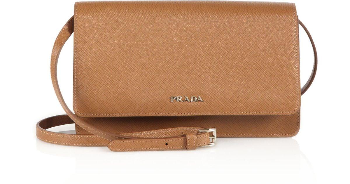 3659ed7450debf france lyst prada saffiano lux small crossbody bag in brown 3b4f3 d74ec