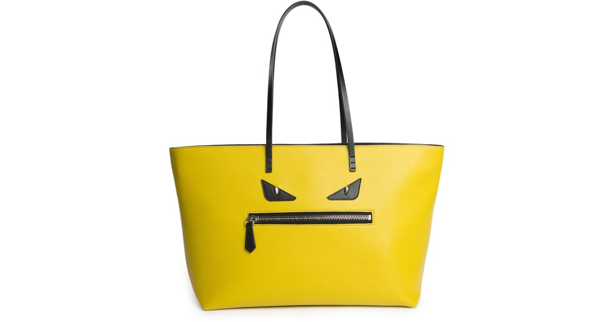 Lyst - Fendi Monster Leather Roll Bag in Yellow