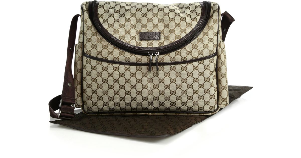 gucci gg canvas diaper bag in brown lyst. Black Bedroom Furniture Sets. Home Design Ideas