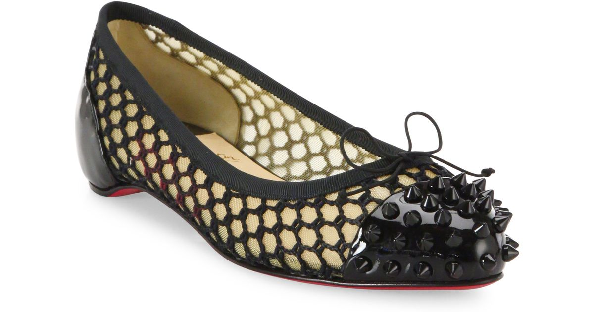 c605a5e7d95e ... discount code for lyst christian louboutin mix spiked patent leather  mesh flats in black 80c9d f0e60