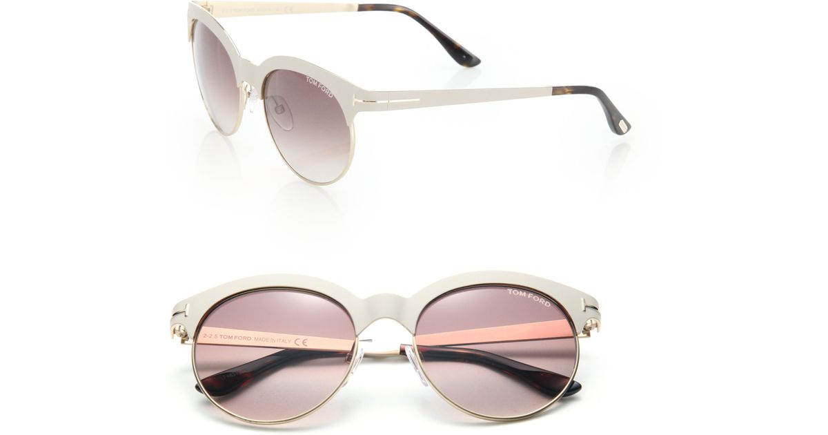 e48f9ce3aa01 Lyst - Tom Ford Angela Round Tinted Sunglasses in White