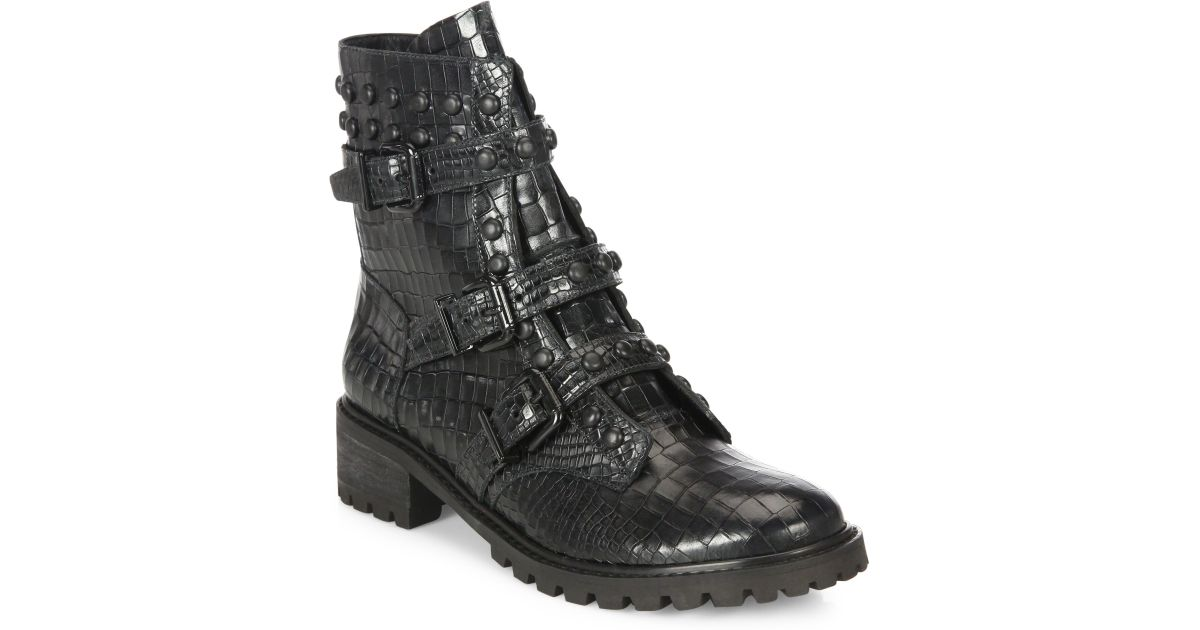 Saks Fifth AvenueCOLLECTION Mixed Media Leather Boots GrXpJa