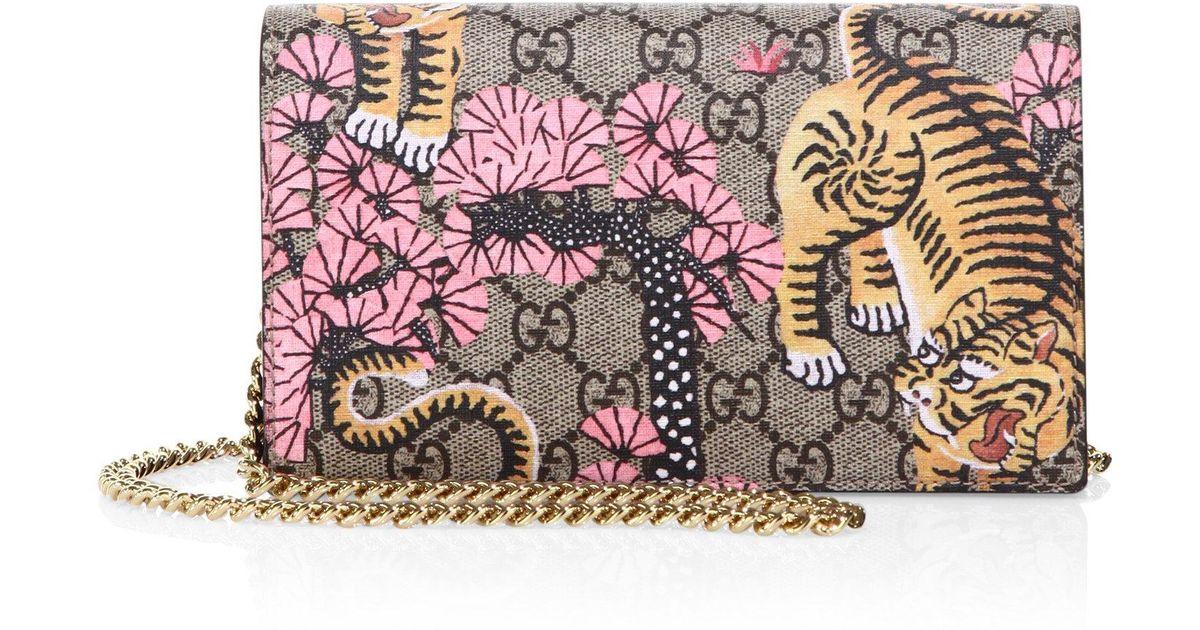 0e0365ccac7 Lyst - Gucci Bengal-print Gg Supreme Canvas Chain Wallet