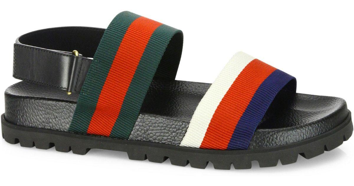 a5ed30b99639d2 Lyst - Gucci Rimini Leather Double Strap Sandals