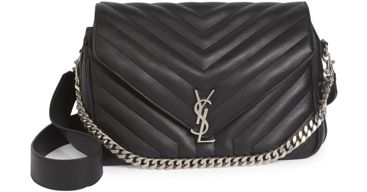 e4dc782920 Lyst - Saint Laurent Large Slouchy Monogram Quilted Leather Shoulder Bag in  Black