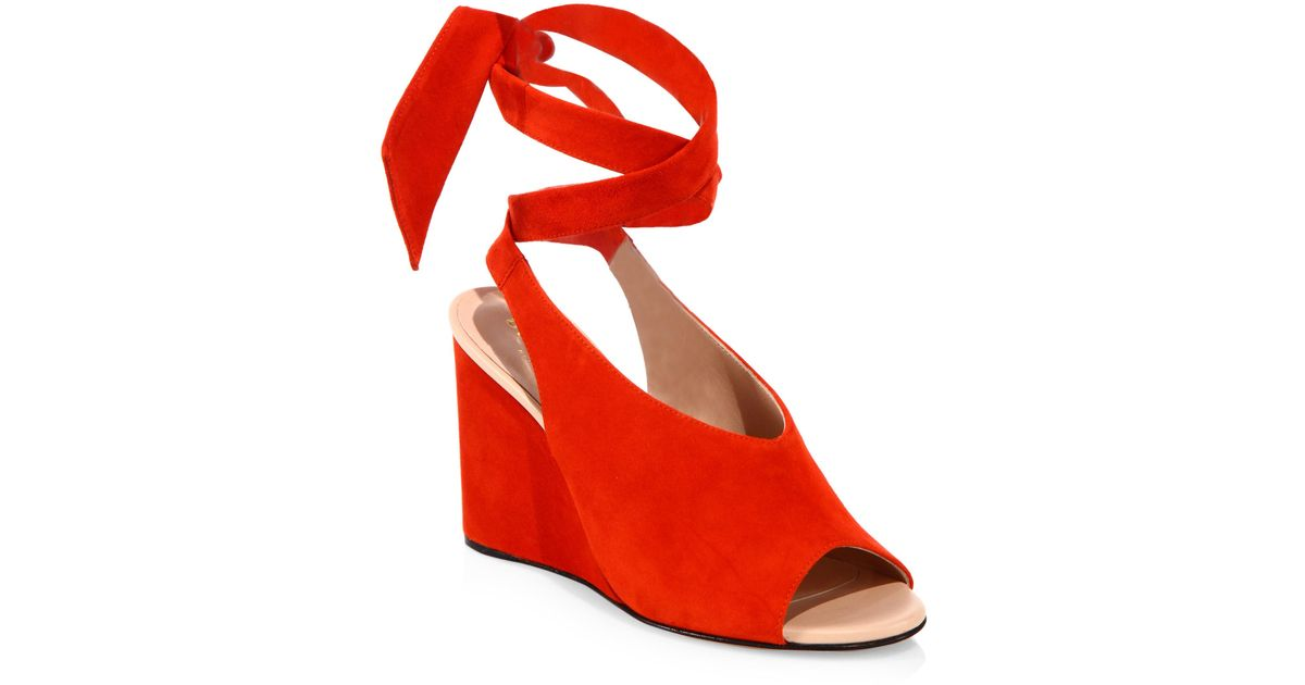 dcc9a13cfda Lyst - Derek Lam Maud Suede Ankle-wrap Wedge Sandals in Red