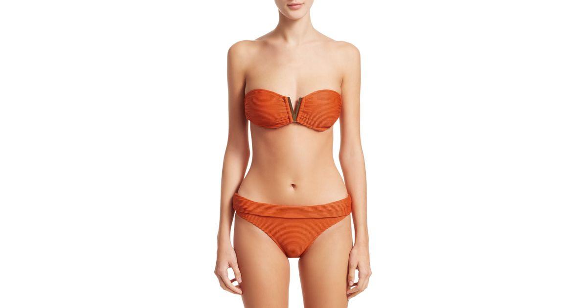 bb7b0d4b44404 Heidi Klein Ribbed V-bar Bandeau Bikini Top in Orange - Lyst
