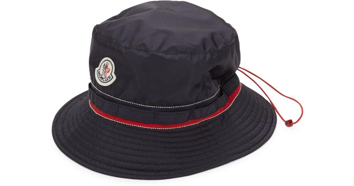 47b284d1194 Moncler Drawstring Bucket Hat in Blue - Lyst
