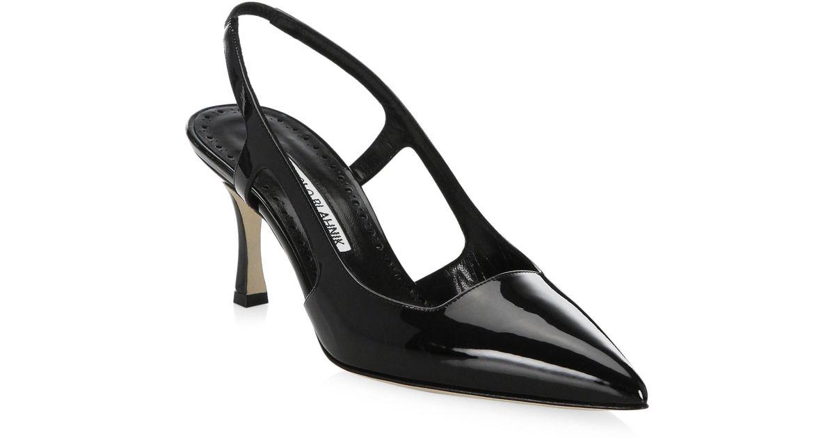 28f5106cc6b Lyst - Manolo Blahnik Women s Classic Patent Leather Pumps - Nude - Size  35.5 (5.5) in Black