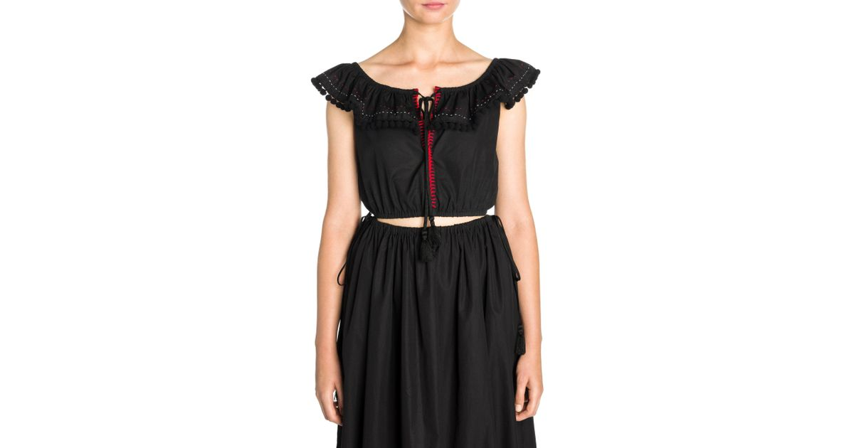 8fc5049258e758 Lyst - Miu Miu Off-the-shoulder Cotton Poplin Crop Top in Black