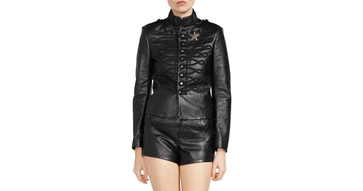 37096421f Saint Laurent - Women's Embroidered Leather Officer Jacket - Black - Size  38 (6) - Lyst