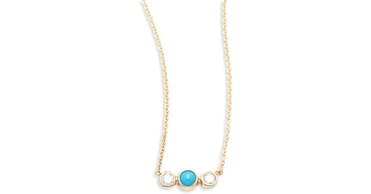 Zoë Chicco Teardrop Turquoise Lariat Necklace PK6CDOzai