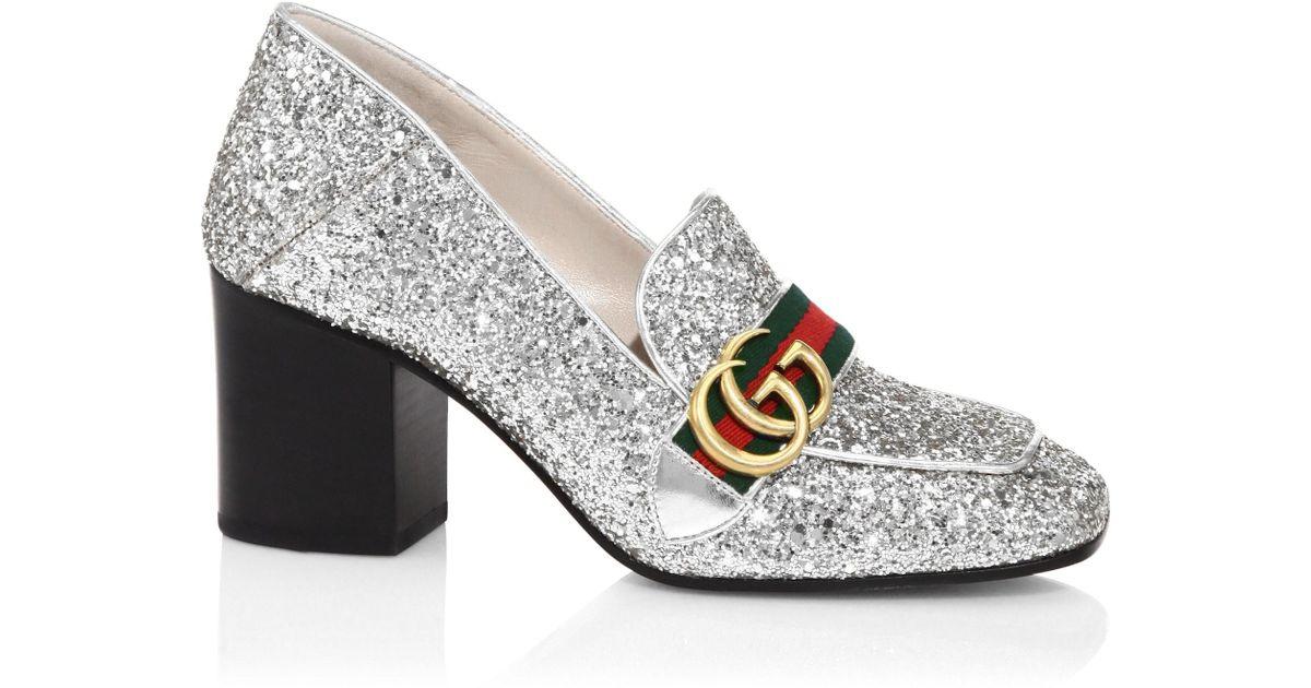 39bf2f4e8f1 Gucci Metallic Mid-heel Mules in Metallic - Lyst