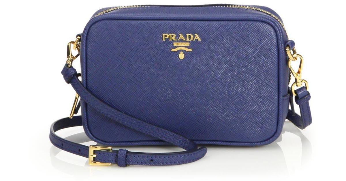 Prada Blue Leather Saffiano Camera Bag iOHqe1lw