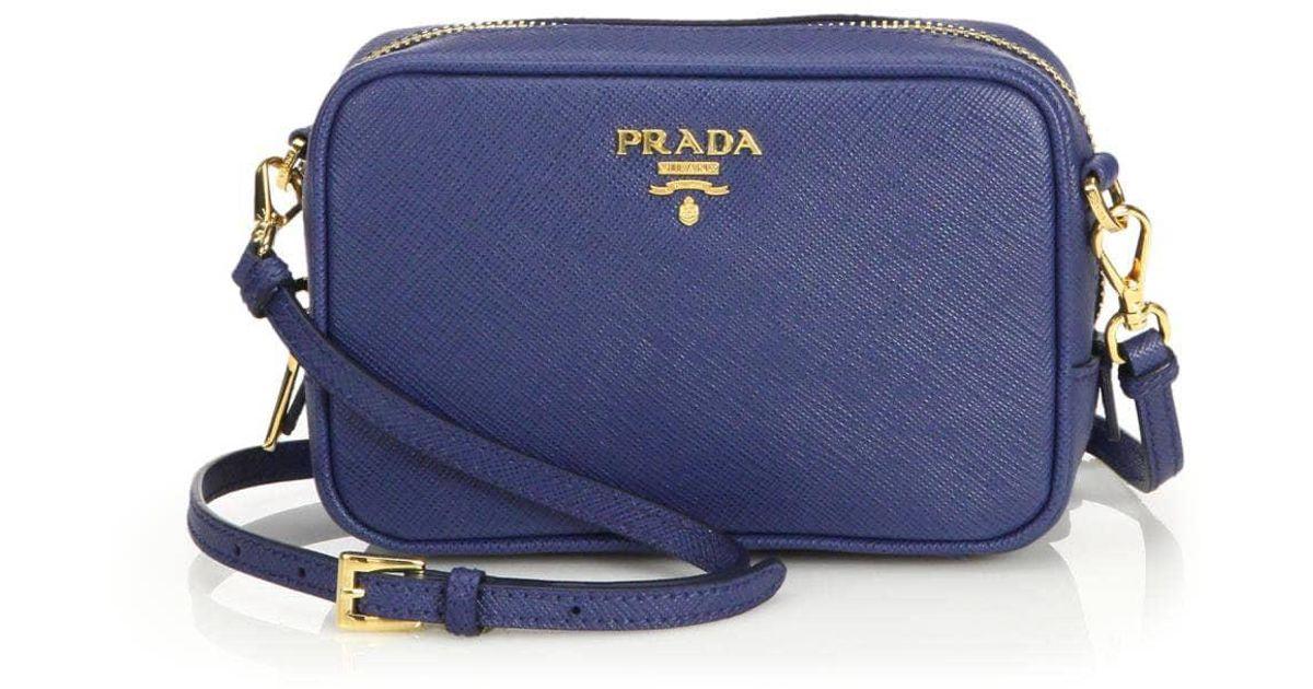 f2e5dcbb3b Prada Saffiano Camera Bag in Blue - Save 69% - Lyst