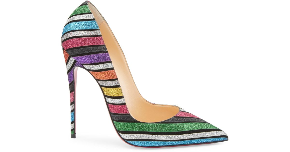 Lyst - Christian Louboutin Women s Pigalle Follies 100 Striped Glitter  Suede Pumps - Size 36 (6) 9c9e7cde64
