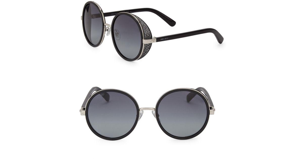d508f0b4b19 Jimmy Choo Andie 54mm Round Crystal-detail Sunglasses in Black - Lyst