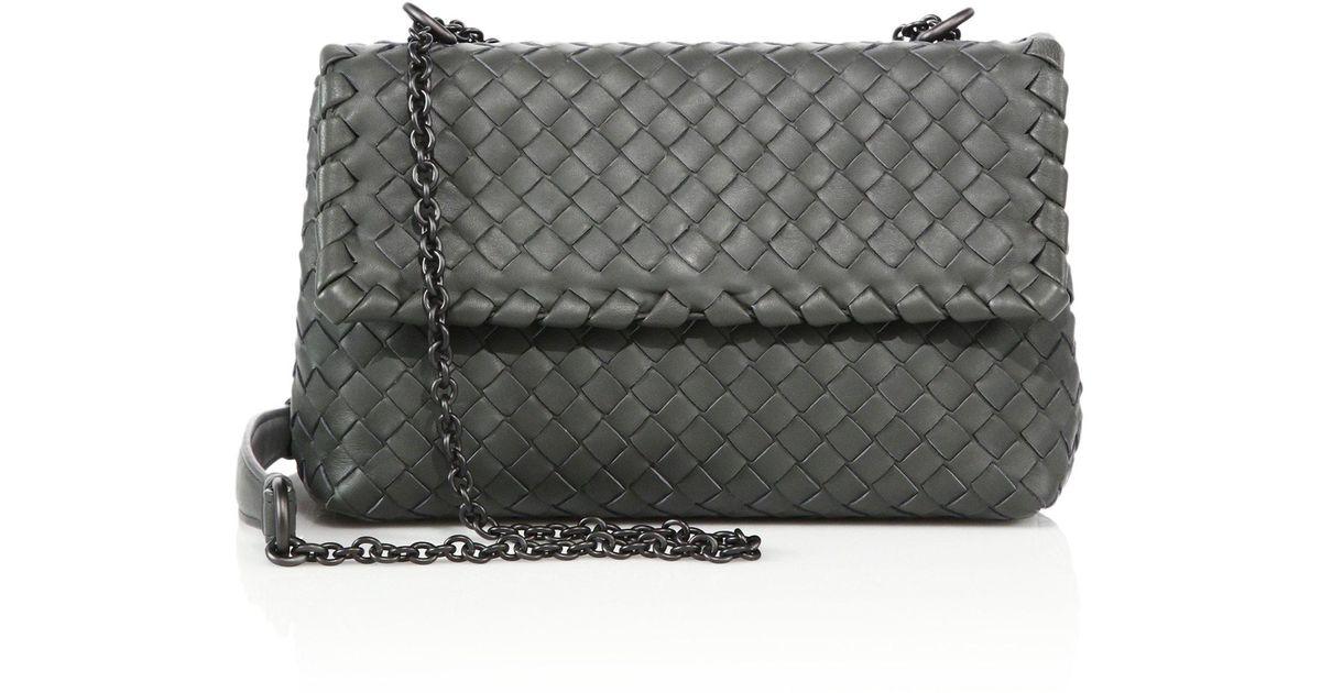 87054234f3 Bottega Veneta Olimpia Medium Intrecciato Leather Cross-Body Bag in Gray -  Lyst