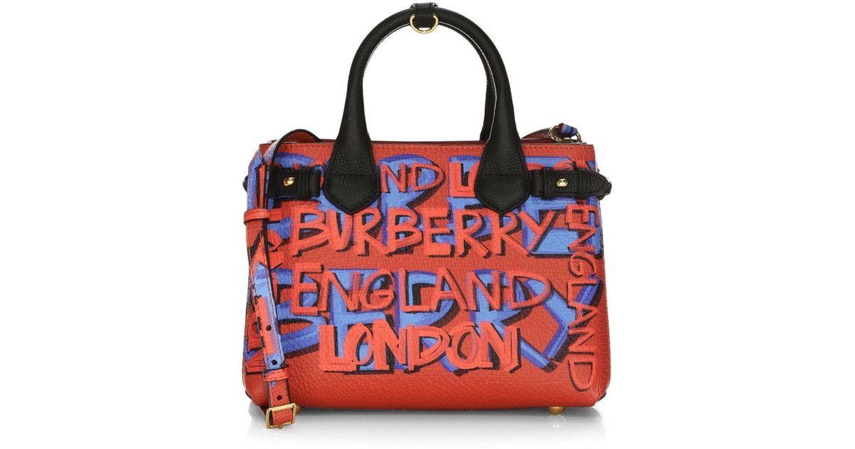 Lyst - Burberry Small Banner Graffiti-print Leather Mini Bag 9d9576771d417