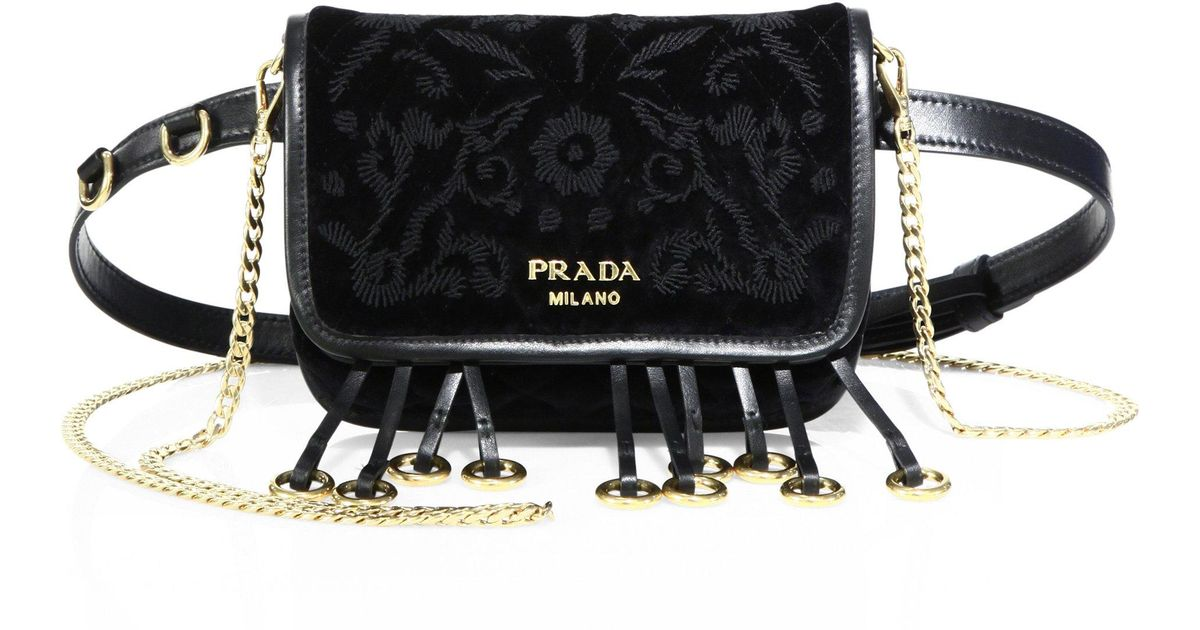b8e6dfaf3da0 Prada Floral-embroidered Velvet Belt Bag in Black - Lyst
