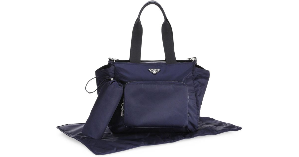 d09b6c6b5a25 ... italy lyst prada nylon diaper bag in blue 86275 ae20e
