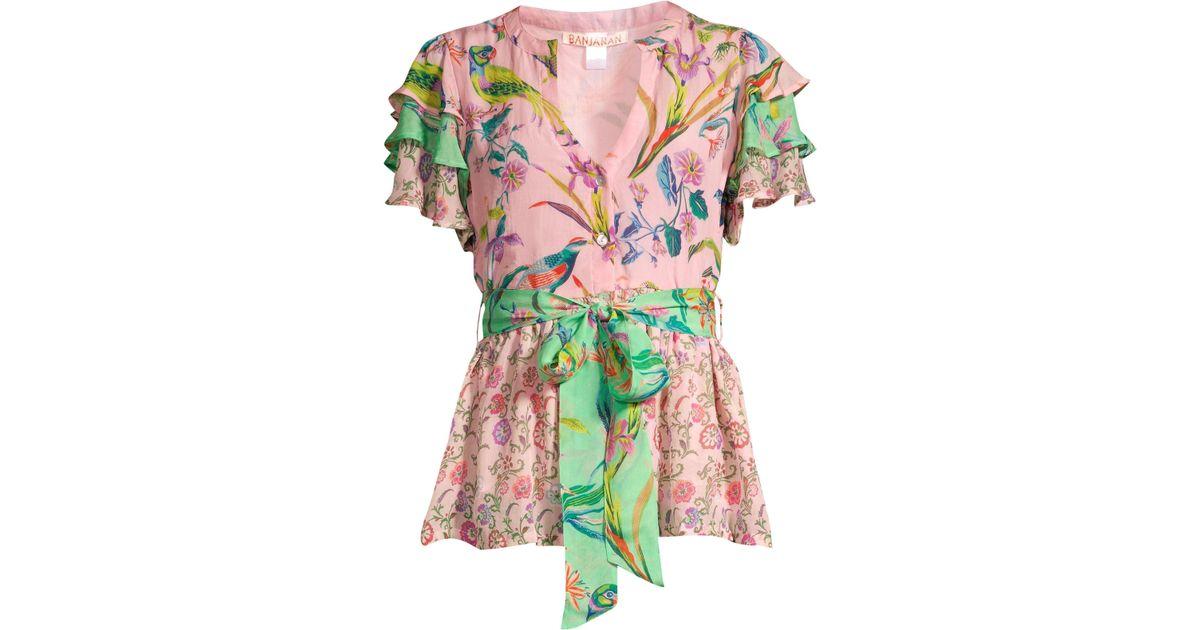 1e04c29388dba4 Banjanan Jaya Contrast Floral   Avian Print Tie Short-sleeve Silk Blouse -  Lyst