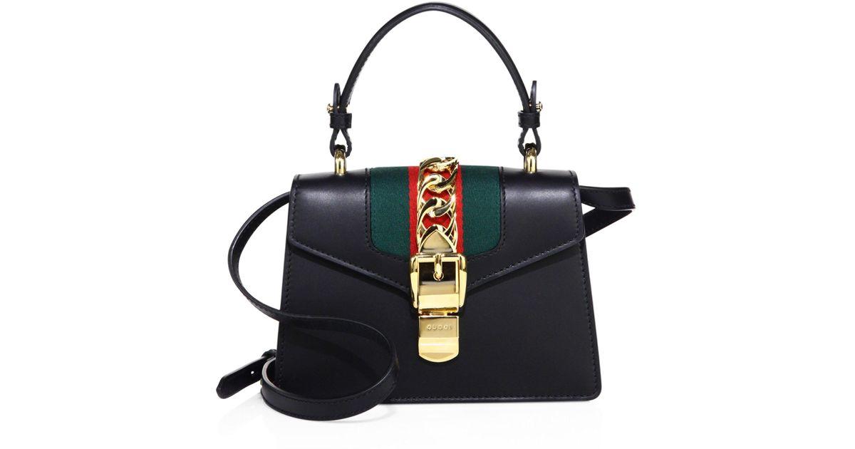 ea9a022d2f3 Gucci Mini Sylvie Leather Shoulder Bag in Black - Lyst