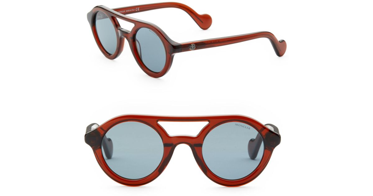 ae55c3b7e7b Lyst - Moncler 47mm Round Sunglasses in Brown