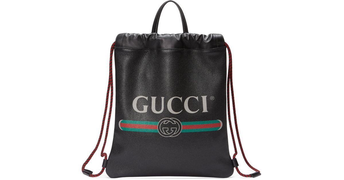 a743b1d115de16 Lyst - Gucci Print Small Drawstring Backpack in Green