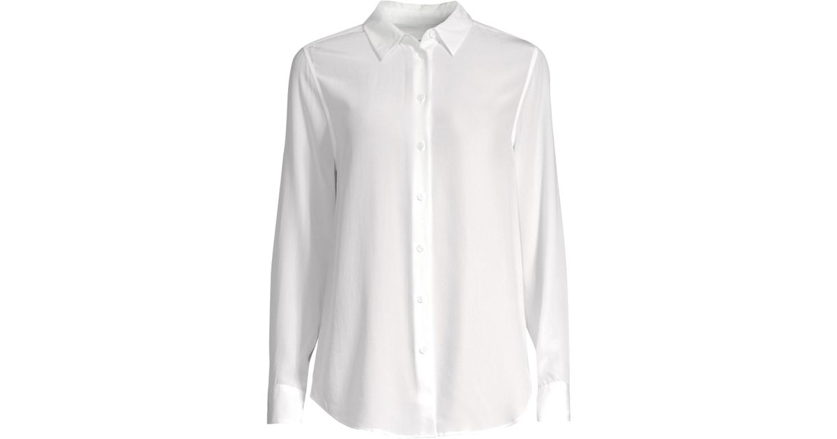 8e38eaa6a98ce Equipment Women s Silk Button-down Blouse - Bright White - Size Large in  White - Lyst
