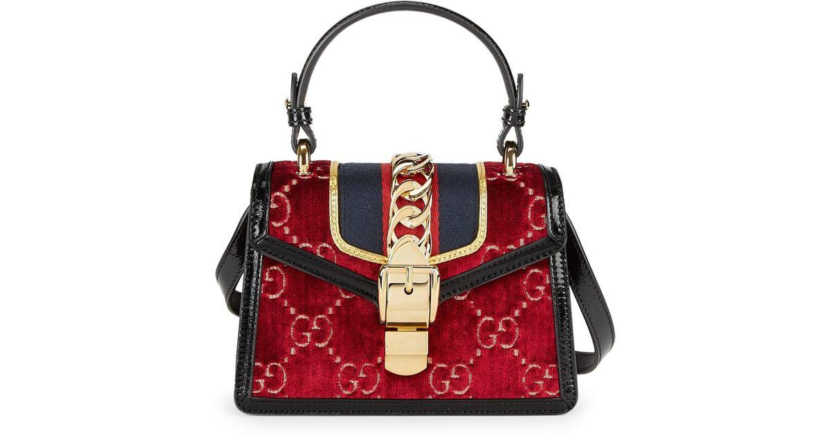 55229aff7 Gucci Sylvie GG Velvet Mini Bag in Red - Lyst