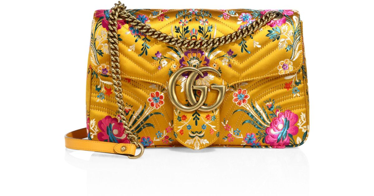 ad4a2368d099 Gucci Small Gg Marmont Matelasse Floral Jacquard Chain Shoulder Bag in  Yellow - Lyst