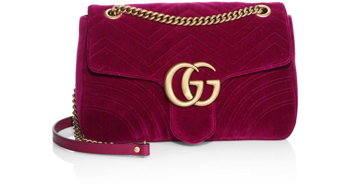 e72d8787fb6d Gucci Gg Marmont Medium Quilted Velvet Shoulder Bag in Red - Lyst