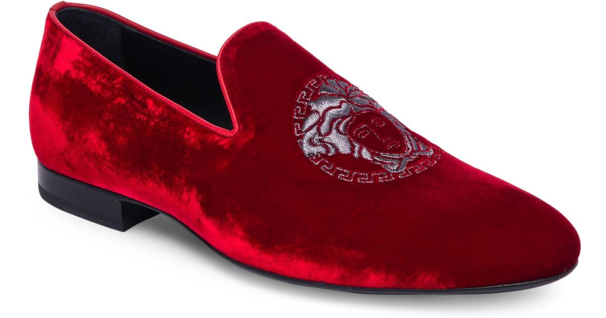 d34129172 Versace Men's Classic Velvet Loafers - Red in Red for Men - Lyst