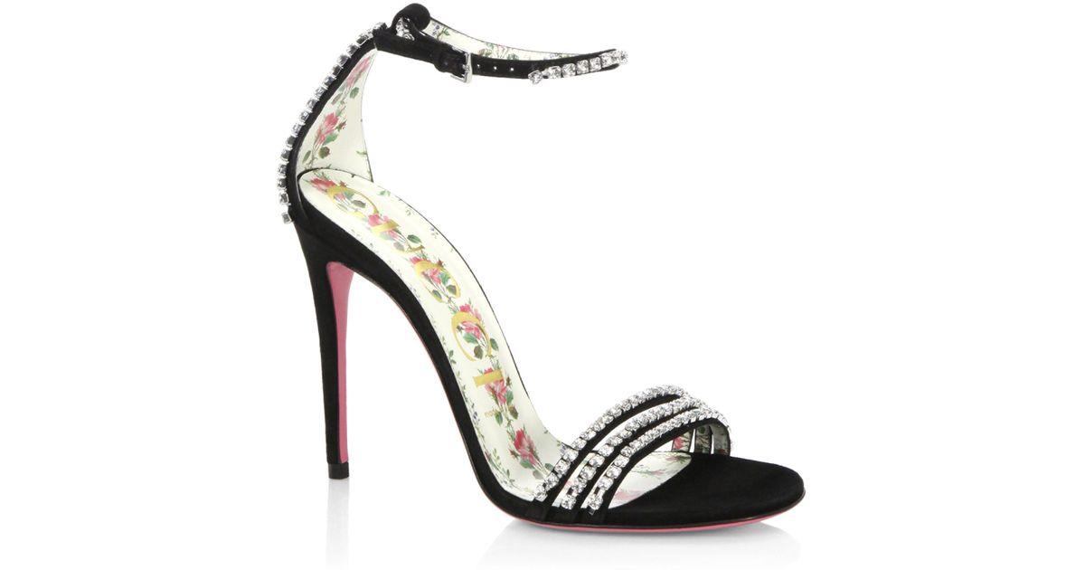 32c507b3dc49 Lyst - Gucci Isle Jewel Sandals in Black