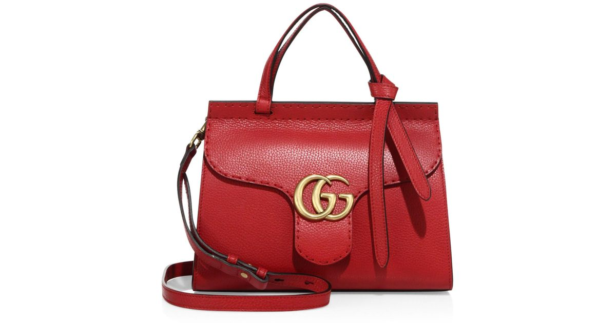 51f1e9e21 Lyst - Gucci Women's GG Marmont Leather Top-handle Bag - Nero in Red