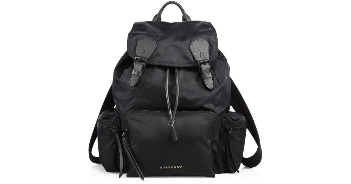 b11136c68e Lyst - Burberry Leather Trimmed Large Rucksack in Black for Men