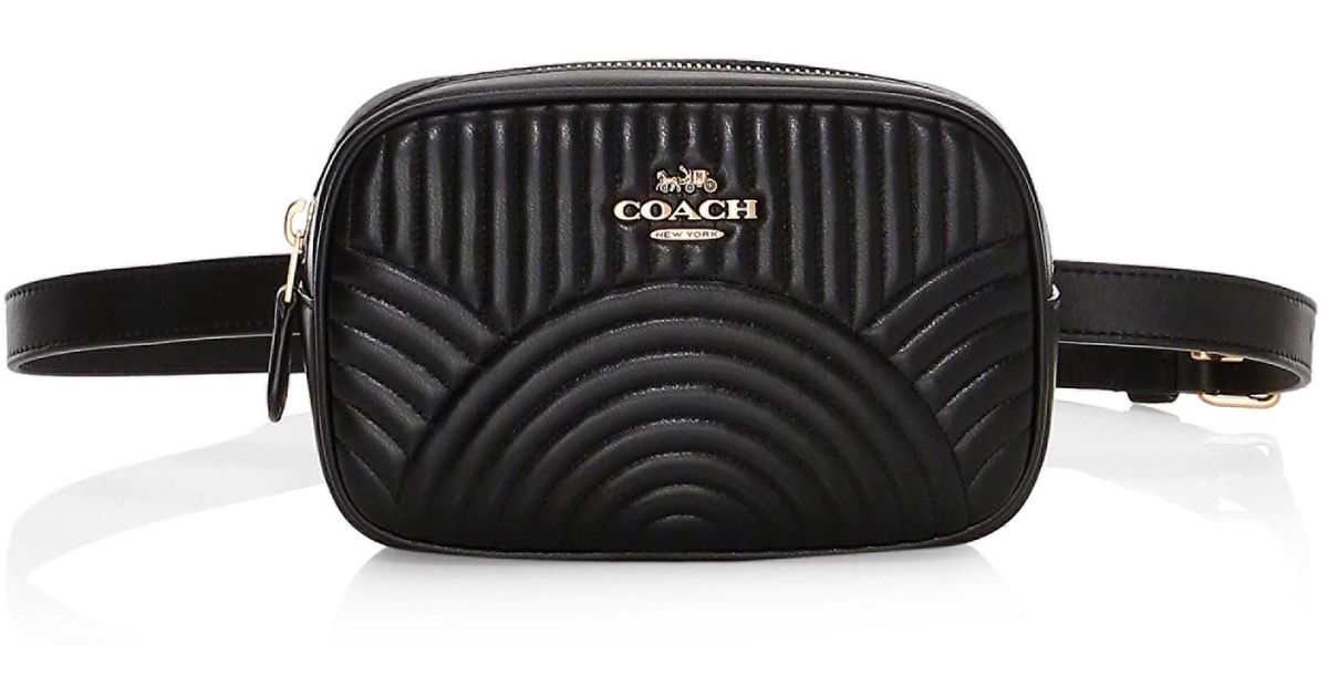 ba1b264b9814 Lyst - COACH Deco Quilted Dorsay Leather Belt Bag in Black