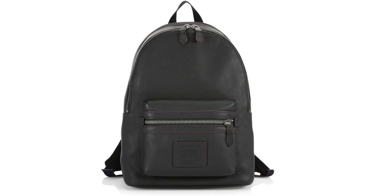 58ca651a61 COACH Academy Pebbled Leather Backpack in Black for Men - Lyst